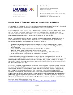 63-2012 : Laurier Board of Governors approves sustainability action plan