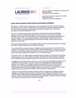 66-2012 : Laurier wins six awards at North American advertising competition