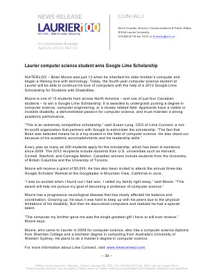 067-2012 : Laurier computer science student wins Google Lime Scholarship