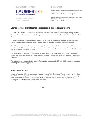 92-2011 : Laurier Toronto event teaches entrepreneurs how to secure funding