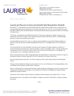 74-2012 : Laurier professors receive provincial Early Researcher Awards