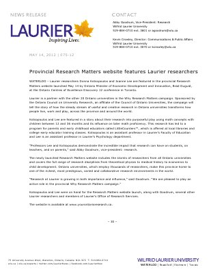 75-2012 : Provincial Research Matters website features Laurier researchers