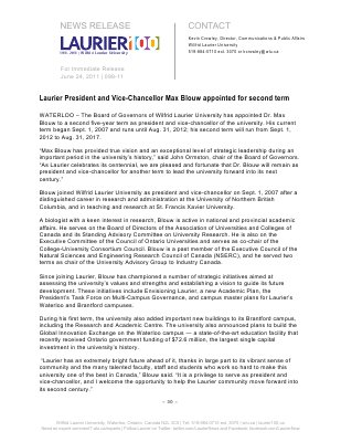 99-2011 : Laurier President and Vice-Chancellor Max Blouw appointed for second term