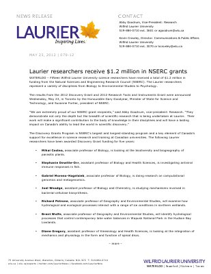 79-2012 : Laurier researchers receive $1.2 million in NSERC grants