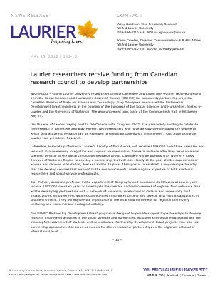 83-2012 : Laurier researchers receive funding from Canadian research council to develop partnerships