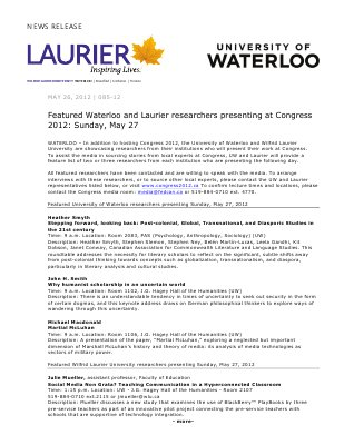 85-2012 : Featured Waterloo and Laurier researchers presenting at Congress 2012: Sunday, May 27
