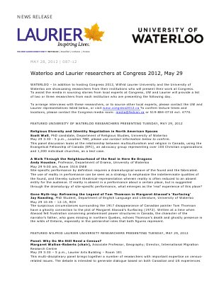 87-2012 : Waterloo and Laurier researchers at Congress 2012, May 29