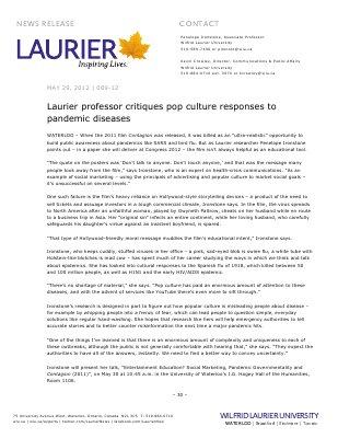 89-2012 : Laurier professor critiques pop culture responses to pandemic diseases