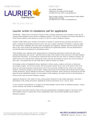 91-2012 : Laurier writer-in-residence call for applicants