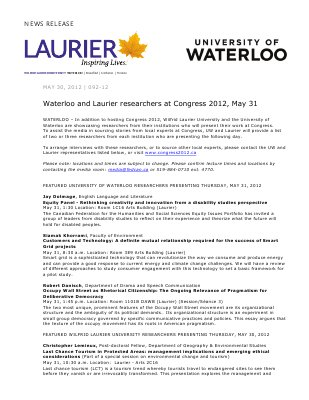 92-2012 : Waterloo and Laurier researchers at Congress 2012, May 31
