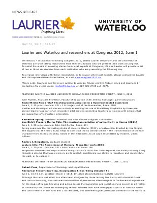 93-2012 : Laurier and Waterloo researchers at Congress 2012, June 1