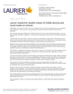 094-2012 : Laurier researcher studies impact of mobile devices and social media on schools