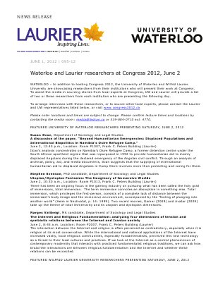 95-2012 : Waterloo and Laurier researchers at Congress 2012, June 2
