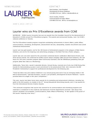 97-2012 : Laurier wins six Prix D'Excellence awards from CCAE