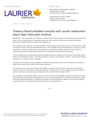 98-2012 : Treasury Board president consults with Laurier researchers about Open Data pilot initiative