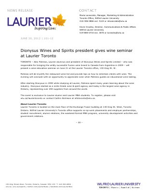 101-2012 : Dionysus Wines and Spirits president gives wine seminar at Laurier Toronto