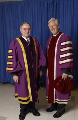 Robert Rosehart and Bob Rae at Wilfrid Laurier University fall convocation 2003