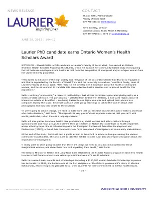 104-2012 : Laurier PhD candidate earns Ontario Women's Health Scholars Award