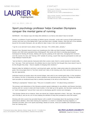 106-2012 : Sport psychology professor helps Canadian Olympians conquer the mental game of running