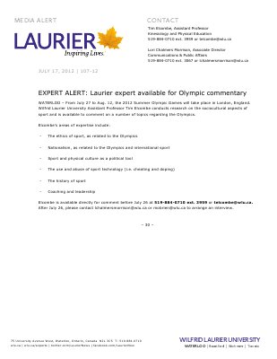 107-2012 : EXPERT ALERT Laurier expert available for Olympic commentary