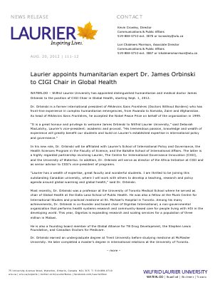 111-2012 : Laurier appoints humanitarian expert Dr. James Orbinski to CIGI Chair in Global Health