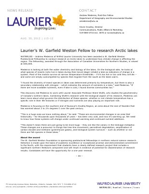 115-2012 : Laurier's W. Garfield Weston Fellow to research Arctic lakes