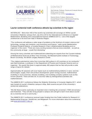 110-2011 : Laurier centennial math conference attracts top scientists to the region