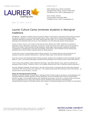 116-2012 : Laurier Culture Camp immerses students in Aboriginal traditions