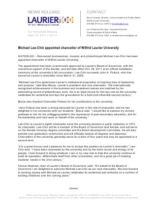 132-2011 : Michael Lee-Chin appointed chancellor of Wilfrid Laurier University