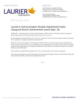 126-2012 : Laurier's Communication Studies Department hosts inaugural Alumni Achievement event Sept. 28