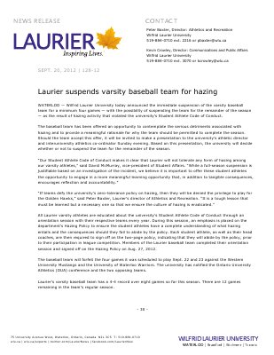 128-2012 : Laurier suspends varsity baseball team for hazing