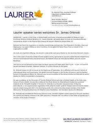 131-2012 : Laurier speaker series welcomes Dr. James Orbinski