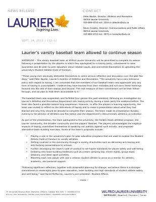 132-2012 : Laurier's varsity baseball team allowed to continue season
