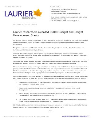 136-2012 : Laurier researchers awarded SSHRC Insight and Insight Development Grants