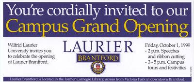 Laurier Brantford Grand Opening invitation