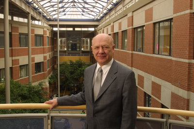 Art Szabo standing in Science Building at Wilfrid Laurier University