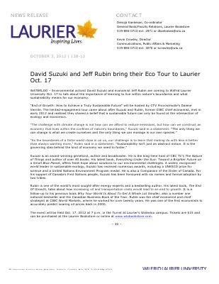 138-2012 : David Suzuki and Jeff Rubin bring their Eco Tour to Laurier Oct. 17