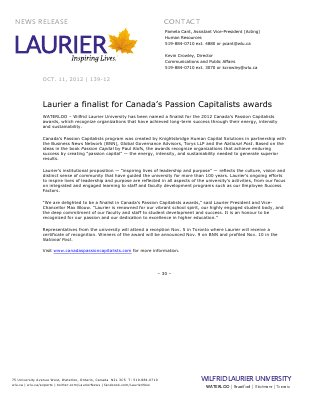 139-2012 : Laurier a finalist for Canada's Passion Capitalists awards