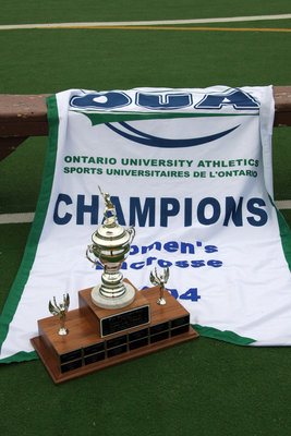 2004 OUA women's lacross banner and trophy