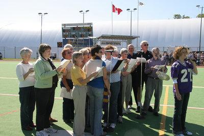 WLU Alumni Choir performing at 2005 Homecoming game