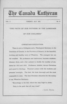 The Canada Lutheran, vol. 3, no. 9, July 1915