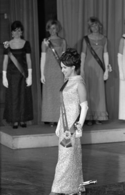Kathi Burrows competing in 1968 Miss Canadian University Queen pageant