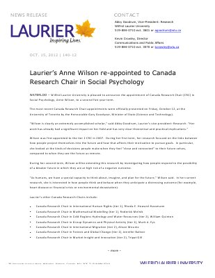 140-2012 : Laurier's Anne Wilson re-appointed to Canada Research Chair in Social Psychology