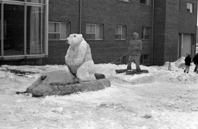 Snow sculptures at Waterloo Lutheran University Winter Carnival 1968