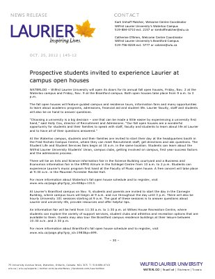 145-2012 : Prospective students invited to experience Laurier at campus open houses