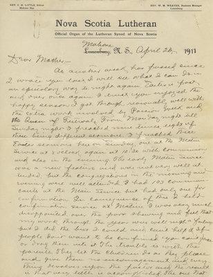 C. H. Little to Candace Little, April 20, 1911