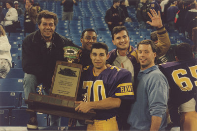 Spiros Anastasakis holding Churchill Bowl