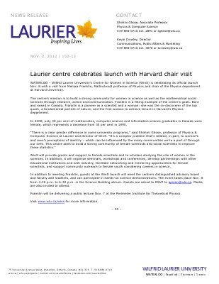 152-2012 : Laurier centre celebrates launch with Harvard chair visit