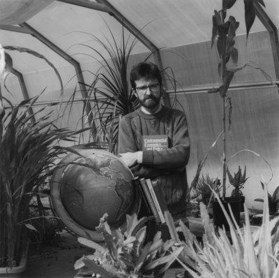 Randy Wigle in a greenhouse