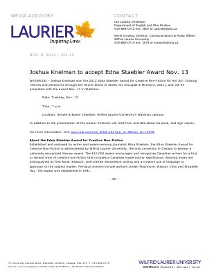 153-2012 : Joshua Knelman to accept Edna Staebler Award Nov. 13